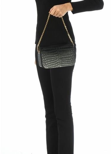 Saint Laurent Saint Laurent Elise  Krokodil Kadın Deri El Çantası 101612683 Siyah